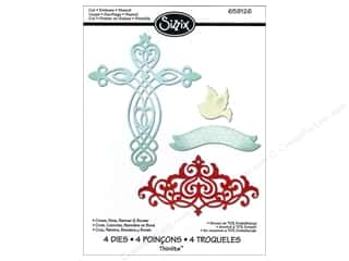 Religious Subjects $4 - $6: Sizzix Thinlits Die Set 4PK Cross Dove Banner & Border by Rachael Bright