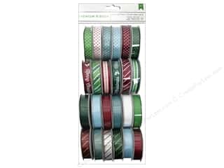 American Crafts Peppermint Express Foil Printed Ribbon 24 pc.