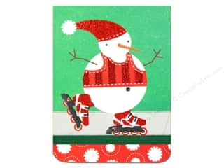 Punch Studio Note Pad Pocket Flip Roller Blade Snowman