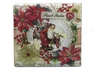 Generations Christmas: Punch Studio Napkins Santa Frame Poinsettia Beverage 20pc