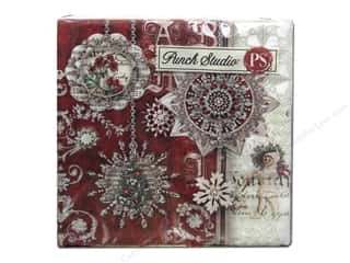 Punch Studio Napkins Slvr&Rd Orn Holiday Bev 20pc