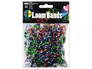 Rubber / Elastic Bands: Midwest Design Loom Band Striped Assorted 425pc