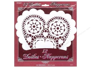 Cooking/Kitchen Valentine's Day: Unique Heart Doilies 10 in. 12 pc. White
