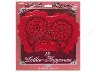 Unique: Unique Heart Doilies 10 in. 12 pc. Red