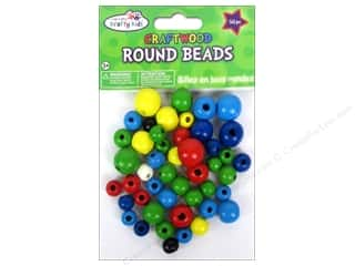 wood beads: Multicraft Krafty Kids Wood Bead Round 10-16mm Color 50pc