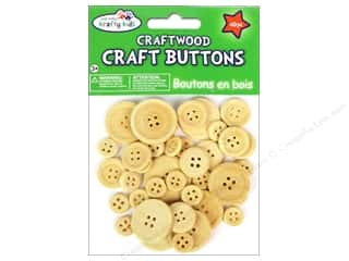 Kid Crafts: Multicraft Krafty Kids Wood Craft Button Natural 40pc