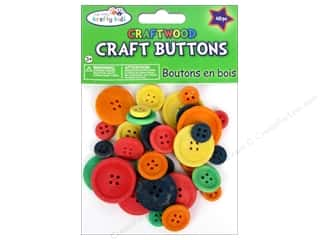 Kid Crafts: Multicraft Krafty Kids Wood Craft Button Color 40pc