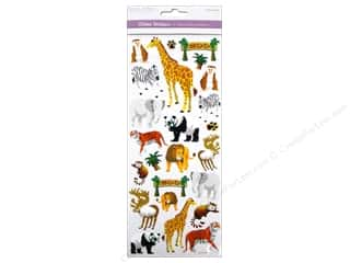 Scrapbooking & Paper Crafts Burgundy: Multicraft Sticker Paper Craft Glitter Zoo Bound