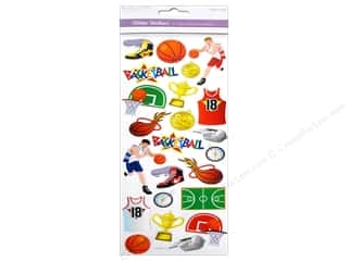 Scrapbooking & Paper Crafts Burgundy: Multicraft Sticker Paper Craft Glitter Basketball Star