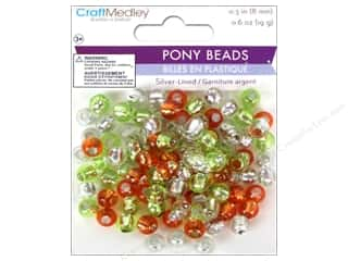 Multicraft Beads Pony 8mm 19gm Silver-Lined Citrus