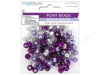 Multicraft Beads Pony 8mm 19gm Silver-Lined Viola