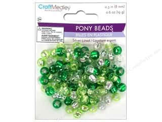 Plastics Beading & Jewelry Making Supplies: Multicraft Beads Pony 8mm 19gm Silver-Lined Go Green