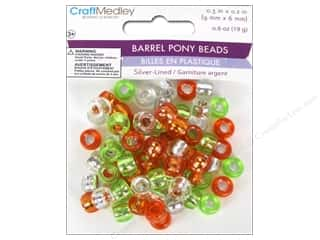 Multicraft Beads Pony 9x6mm 19gm Barrel Citrus