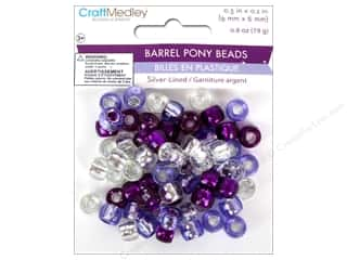 Multicraft Beads Pony 9x6mm 19gm Barrel Viola