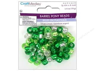 Multicraft Beads Pony 9x6mm 19gm Barrel Go Green