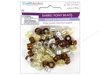 Multicraft Beads Pony 9x6mm 19gm Barrel Caramel