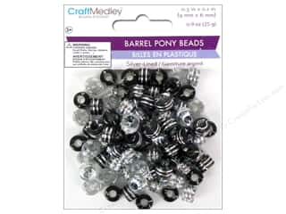 Plastics Beading & Jewelry Making Supplies: Multicraft Beads Pony 9x6mm 25gm Barrel Classy