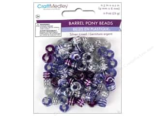 Plastics Beading & Jewelry Making Supplies: Multicraft Beads Pony 9x6mm 25gm Barrel Viola