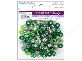 Plastics Beading & Jewelry Making Supplies: Multicraft Beads Pony 9x6mm 25gm Barrel Go Green