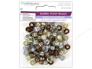 Multicraft Beads Pony 9x6mm 25gm Barrel Caramel