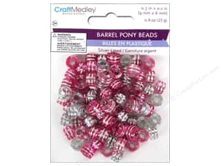 Jewelry Making Supplies Kid Crafts: Multicraft Beads Pony 9x6mm 25gm Barrel Pink