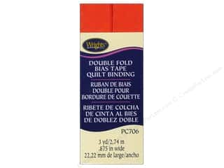 Tapes Wrights Double Fold Quilt Binding: Wrights Double Fold Quilt Binding 3 yd. Orange
