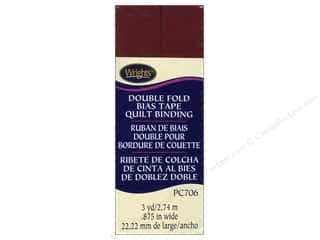 Tapes Wrights Double Fold Quilt Binding: Wrights Double Fold Quilt Binding 3 yd. Ox Blood