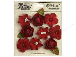 Flowers / Blossoms $5 - $6: Petaloo Textured Elements Mini Blossoms Red