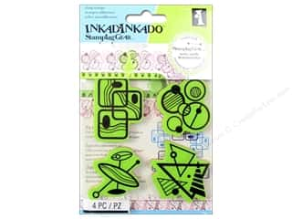 vintage rubber stamping: Inkadinkado Cling Stamp Stamping Gear Mod Fun Shapes
