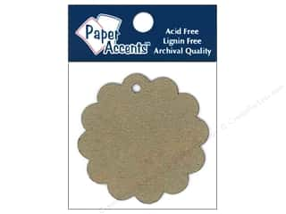 chipboard shapes: Paper Accents Chipboard Shape Scalloped Circle Tag 12 pc. Kraft