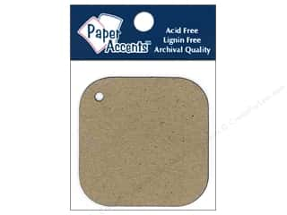 Paper Accents Chipboard Shape Square Tag 12 pc. Kraft