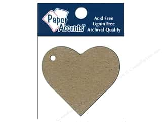 Paper Accents Chipboard Shape Heart Tag 12 pc. Kraft
