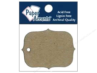 Paper Accents Chipboard Shape Marquee #4 Tag 12 pc. Kraft