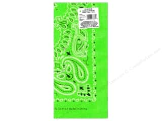 Fabric Painting & Dying Black: Darice Bandana 22 x 22 in. Neon Green Paisley