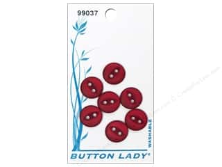 JHB Button Lady Buttons 1/2 in. Red #99037 7 pc.