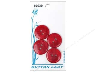 Clearance $3 - $4: JHB Button Lady Buttons 3/4 in. Red #99039 4 pc.