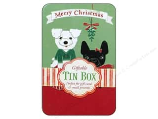 Tabs Animals: Punch Studio Gift Card Holder Mistletoe Puppies Tin