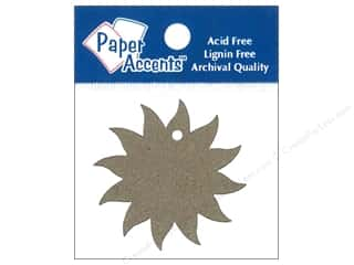 Ribbon Work New: Paper Accents Chipboard Shape Starburst Tag 12 pc. Kraft