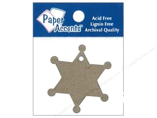 Ribbon Work New: Paper Accents Chipboard Shape Sheriff Badge Tag 12 pc. Kraft