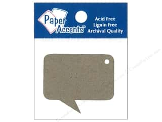 Paper Accents Chipboard Shape Caption Tag 12 pc. Kraft
