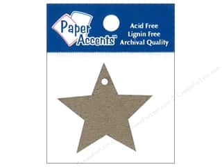 Ribbon Work New: Paper Accents Chipboard Shape Star Tag 12 pc. Kraft