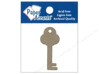 Ribbon Work New: Paper Accents Chipboard Shape Key Tag 12 pc. Kraft