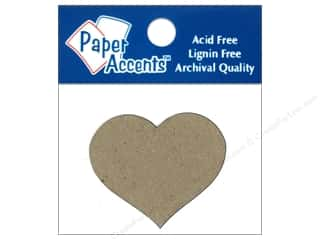 Paper Accents Chipboard Shape Small Heart 8 pc. Kraft