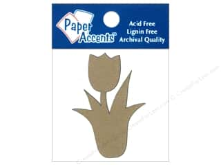 Medium Density Fiberboard (MDF) Shapes: Paper Accents Chipboard Shape Tulip With Stem 8 pc. Kraft