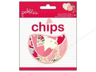 Chipboard Shapes  Flowers: Pebbles Embellishment Yours Truly Printed Chipboard Shapes 25pc