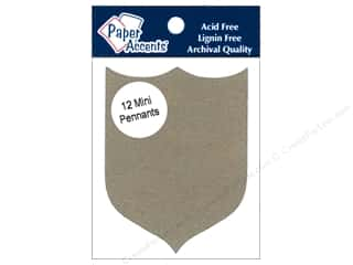 Chipboard Paper Accents Chipboard Pennants: Paper Accents Chipboard Pennants 2 1/2 x 4 in. Mini Shield 12 pc. Kraft