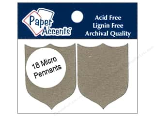 Chipboard Paper Accents Chipboard Pennants: Paper Accents Chipboard Pennants 1 1/4 x 2 in. Micro Shield 18 pc. Kraft