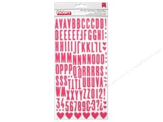 plus thick pink: American Crafts Thickers Alphabet Stickers Love Notes Pink & Cream