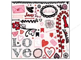 Love & Romance Chipboard: Bo Bunny Chipboard Stickers 12 x 12 in. Head Over Heels