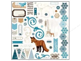 Chipboard Winter: Bo Bunny Chipboard Stickers 12 x 12 in. Woodland Winter